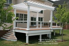 Exterior, Pretty And Inspiring Trex Decking Exterior Ideas: Cozy Cupper Wooden Deck With Low White Pillars And Fence