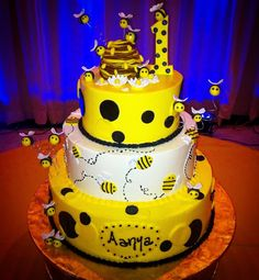 Bumble bee themed first birthday cake! Visit rustikacafe.com and Rustika Downtown opens November 2nd! #rustikacafe