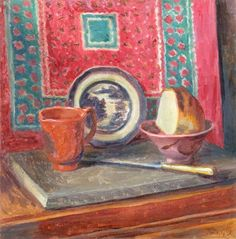 Still Life, the Blue China Plate, Duncan Grant (1885–1978),  Government Art Collection