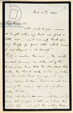 """ Charlotte Bronte writes to William Smith Williams about the death of her sister, Emily a few days before Christmas Emily Bronte, Charlotte Bronte, Bronte Sisters, Wuthering Heights, History Images, Cursive, Jane Austen, Libraries, Handwriting"