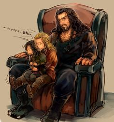Thorin, Fili and Kili. Ahh Thorin. HOT dwarf. And those are not two words that are typically strung together in a sentence. HOT DWARF. - km