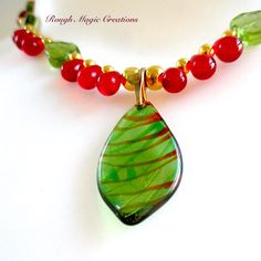 Holly & Ivy Christmas Pendant, Lampwork Leaf, Green Red Gold Beaded Necklace, Colorful Holiday Jewelry, Festive Statement Gift for Woman 103 by RoughMagicHolidays on Etsy