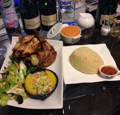 Attieke with rotisserie chicken