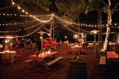 Vintage festoon lighting can create the feeling of a garden party