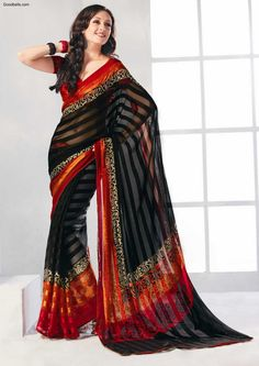 Designer Printed Black Saree