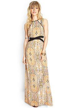 Multicolor Southwestern Print Cutout Maxi Dress | LOVE21 - 2000062375 $30