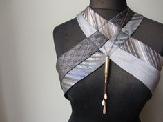 Steampunk Harness Repurposed Neckties Gray by GarageCoutureClothes Diy Clothing, Sewing Clothes, Clothing Patterns, Steampunk Vest, Der Gentleman, Tie Crafts, Altered Couture, Dressmaking, Diy Fashion