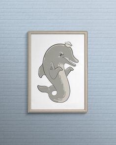Limited Edition - Sailor Dolphin Print - 5x7 Cardstock Print #graphicdesign #vector #illustration #etsy #shop #print #poster #nautical #anchor #wallart #sailor