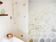 Tan and White pebble floor in the shower