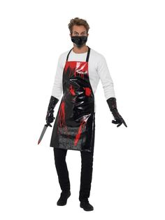 Get this easy Halloween Costume Kit if you don't feel like dressing up for Halloween. Our Bloody Surgeon / Butcher Kit comes in Black & Red, with Apron, Gloves & Mask PU View Size Chart