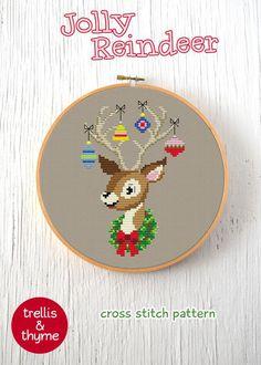 PDF Pattern Jolly Reindeer Cross Stitch Pattern Retro