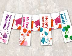 PRINT & SHIP Art Party Birthday Pennant Banner by paperandcake