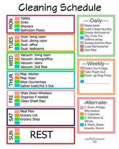 Super Weekly Cleaning List For Working Moms Cleanses Ideas Diy Cleaning Products, Cleaning Solutions, Deep Cleaning, Cleaning Hacks, Cleaning Routines, Weekly Cleaning Schedule Printable, Weekly Cleaning Lists, Daily Chore List, Cleaning Tips For Home
