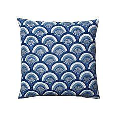 Indigo Kyoto Pillow - Japanese windsock inspired (koinobori) but has an art deco look...no?