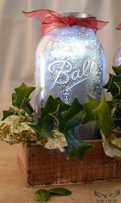 mercury mason jar centerpiece, crafts, mason jars, repurposing upcycling, seasonal holiday decor