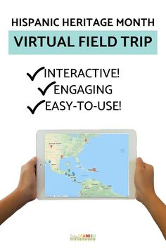 """Your students will LOVE getting to """"visit"""" areas around the world and learn about different people for Hispanic Heritage Month in Spanish class! A variety of Spanish-speaking countries and people are highlighted in this Google Maps digital webquest adventure! These activities are perfect lesson plans for incorporating technology and learning about language and culture! Click to see more!"""