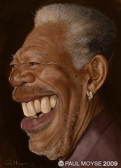 cartoon - Morgan Freeman by Paul Moyse-UK Cartoon Faces, Funny Faces, Cartoon Art, Caricature Artist, Caricature Drawing, Drawing Art, Funny Caricatures, Celebrity Caricatures, Celebrity Drawings