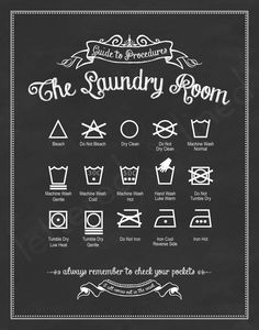 Guide to Procedures: The Laundry Room - 11x14 print - Laundry, Symbols, Rules, Sign, Vintage, Decor, Art, Wall, Chalk, Chalkboard. $23.00, via Etsy.