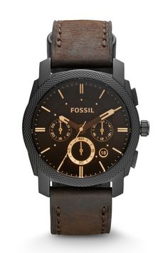 Fossil Machine Mid-Size Chronograph Leather Watch - Brown | EVOSY The Premier Destination for Watches and Accessories