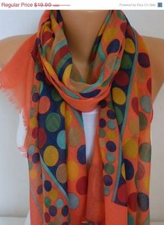 Spring Cotton Scarf Shawl Summer Cowl Oversized Wrap by fatwoman