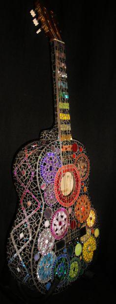 Mosaic guitar by artist Janna Hagen