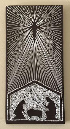 ba106b66906e Nativity Scene String Art on dark stained wood