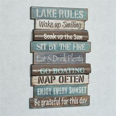 Pallet wood idea? Lake Rules Wall Sign Multi Cool