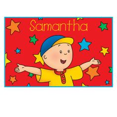 Caillou & Stars Placemat Available Now at Amazon.com/Caillou ,http://www.amazon.com/dp/B007WVNT1C/ref=cm_sw_r_pi_dp_toc6sb16SPNK5DY0 #Kids #Fun #Personalize #Custom #Gift #present #Food #Caillou