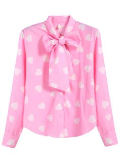 Pink Bow Collar Hearts Print Blouse 20.83