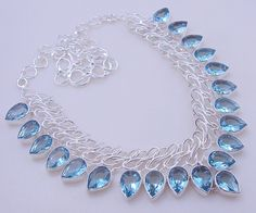 free shipping 80 gram stunning FACETED AQUAMARINE .925 sterling silver handmade  necklace  free shipping by OCEANJEWELLERS on Etsy