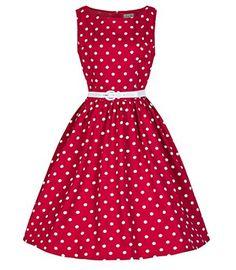 Padgene Elegant 60er Vintage Polka Dot Kleid Punkte A-Linie Gürtel Damen Kleider…