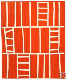 Contemporary Baby Blanket  Tangerine Ladders by bperrino on Etsy, $145.00