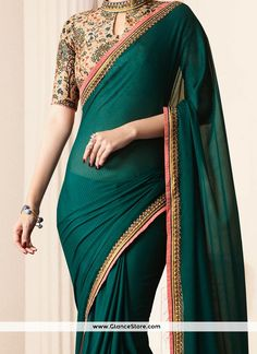 Appealing Embroidered Work Green Art Silk Traditional Designer Saree