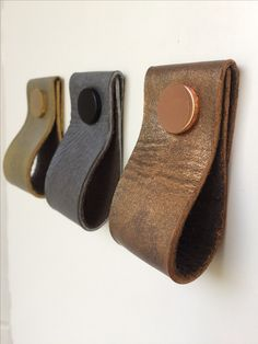Hand dyed leather pulls with copper, silver and gold finish