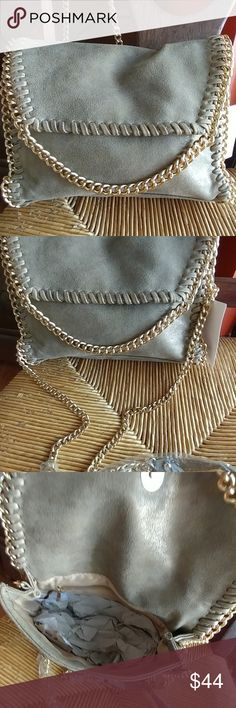 Crossbody chain bag In gold matte vegan,  excellent quality,  super soft and trendy,  a perfect fit for your phone,  makeup bag and a regular size wallet. Bags Crossbody Bags