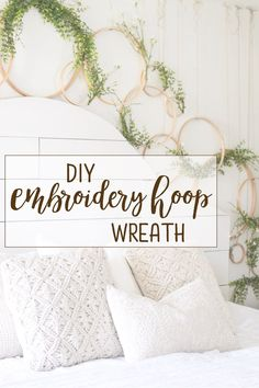DIY Embroidery Hoop Wreath Project, Diy And Crafts, Hi there, friends! By popular demand, here is a simple DIY tutorial on these cheap and charming embroidery hoop wreaths! Embroidery Hoop Decor, Diy Embroidery, Embroidery Designs, Embroidery Tattoo, Hungarian Embroidery, Embroidery Jewelry, Trash To Couture, Instalation Art, Do It Yourself Furniture