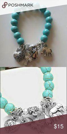 "Antique Silver Turquoise Charm Bracelet Beautiful Antique Silver with Turquoise Beads Charm Bracelet. Size: 1.5""H Five charm stretchable bracelet. Photos courtesy of haia_pm Haia Jewelry Bracelets"