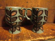 Lot 2 AWESOME Vintage Mid Century Danish Modern Art Pottery Coffee Mug 1/5