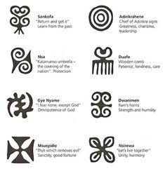 "Adrinka Symbols of the Akan people of Ghana. Adrinka means"" goodbye"" in the Akan languageThe Adrinka Symbols of the Akan people of Ghana. Adrinka means"" goodbye"" in the Akan language Tribal Symbols, Adinkra Symbols, Native Symbols, Alphabet, Tatoo Africa, Body Art Tattoos, New Tattoos, Afrika Tattoos, Feather Tattoos"