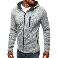 Men's Sports Leisure Jacquard Fleece Cardigan Fashion Thick Zip Up Hooded Jacket - Banggood Mobile