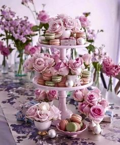 Pretty cake stand with macarons and roses.perfect for pretty Christmas entertaining Take from the pages of Christmas At Home by stylist Sandra Kaminski and photographer Geoff Hedley Deco Buffet, Deco Table, Vintage Tea Parties, Tea Party Table, Afternoon Tea Parties, Afternoon Tea Party Decorations, High Tea Decorations, Tea Party Bridal Shower, Tea Party Wedding