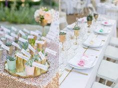 gold wedding table - photo by Anna Marks Photography http://ruffledblog.com/santa-barbara-destination-wedding-with-succulents
