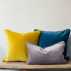 Velvet cushions add warmth and texture to a room, and these are washed to give a gently antiqued look and feel. The cushions have a piped edge in the same velve Mustard Living Rooms, Mustard Bedroom, Teal Living Rooms, New Living Room, Mustard Bedding, Mustard Cushions, Living Room Cushions, Yellow Cushions, Velvet Cushions