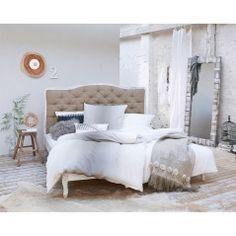 6978551 Impressionen Bett aus Mangoholz und Leinen 599,00 Euro