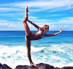 Yoga pose by the beach