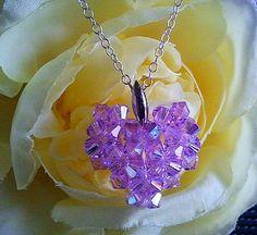 Heart Violet Necklace  beaded swarovski crystal  by LaLaCrystal, $18.50
