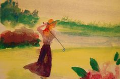 vintage women golf pictures | Antique Lady Golfer Painting - Antique Lady Golfer Fine Art Print