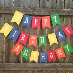 Large Happy birthday banner. Birthday banner in primary colors. Kids party banner. Birthday decor. 1st birthday banner.