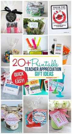 Quick and easy FREE printable little gifts for teachers!  Perfect for a DIY Teacher Appreciation Week Gift!: