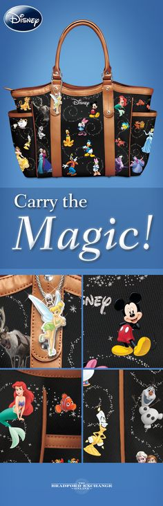 "Carry the magic with all of your favorite Disney characters! This designer-style handbag showcases characters from ""The Lion King"" and ""Finding Nemo,"" along with Cinderella, Belle, Snow White and the Seven Dwarfs, Aladdin and Winnie the Pooh. There's even a dangling Tinker Bell charm for an extra touch of enchantment."